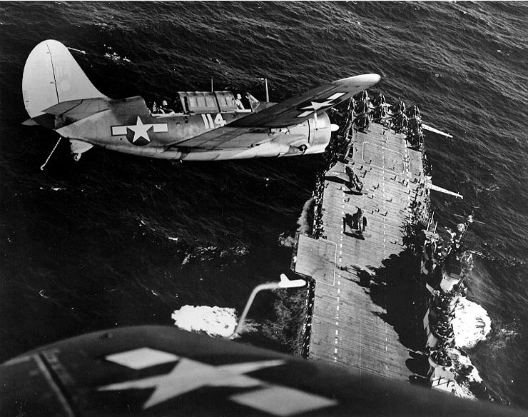 Two_SBC2C-3_over_USS_Hornet_(CV-12)
