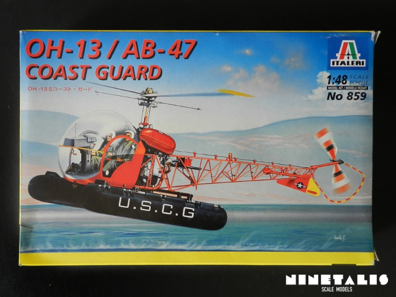 The box art of the Italeri OH-13/AB-47 Coast Guard kit 859 kit.