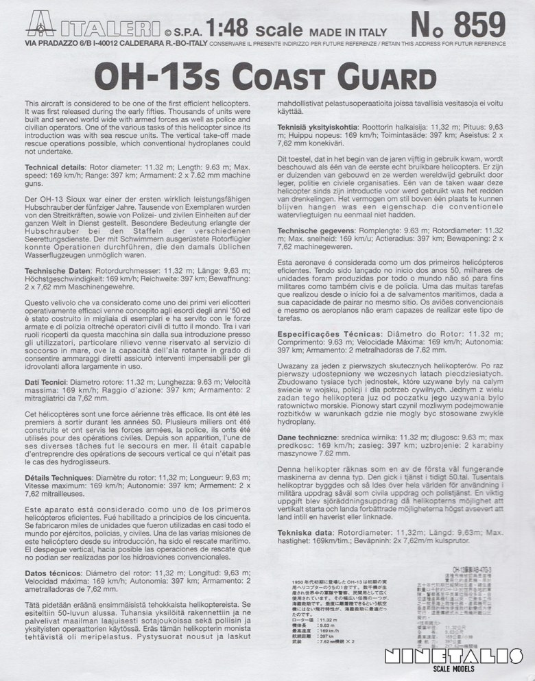 The cover of the instructions sheet from the Italeri OH-13/AB-47 Coast Guard kit 859.