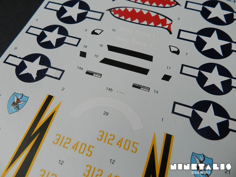 A second close up of the decal sheet of the product. Note the weathered insignia on the left side.