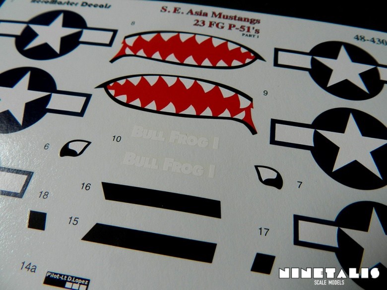 A close up of the decal sheet of the product.