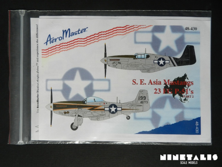 The packaging of the Aeromaster 1:48 S.E. Asia Mustangs 23 FG P-51's part 2 decal sheet.