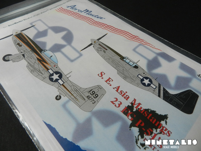 A close up of the packaging of the Aeromaster 1:48 S.E. Asia Mustangs 23 FG P-51's part 2 decal sheet.