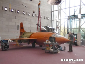 A right view of the Bell X-1 during its restoration at NASM.